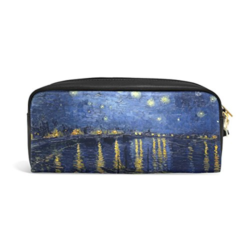 ABLINK Van Gogh Starry Night Over The Rhone Pencil Pen Case Pouch Bag with Zipper for Travel, School, Small Cosmetic - Van Zipper