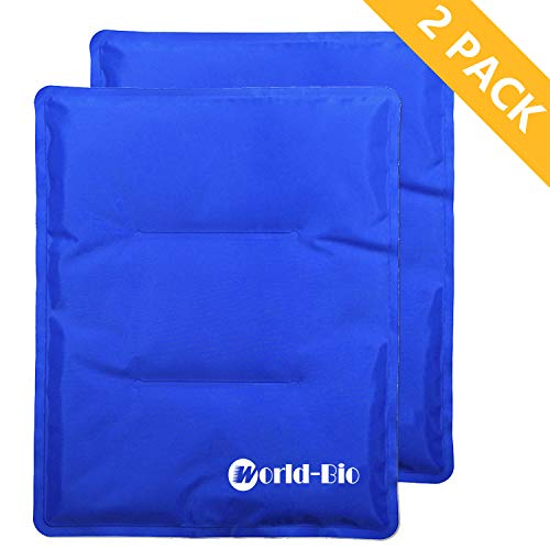 WORLD-BIO Large Flexible Hip Ice Pack 2 packs for Injuries, Hot & Cold Therapy Pad for Shoulder, Back, Knee, Leg, Thigh, Soothing Pain from Bruises & Sprains, Muscle Aches, Stiff Joint, 11' x 14' Blue