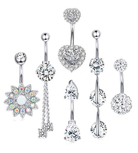 LOYALLOOK 6PCS Stainless Steel Belly Button Rings Dangle Belly Rings Double Heart CZ Navel Belly Button Ring Surgical Steel Piercing Jewelry for Women Teen Girls 14G (C: 6pcs Silver Tone Style2)