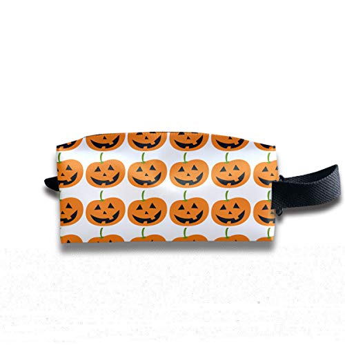 Cute Halloween Grinning Pumpkin Lantern Party Multi-Function Key Purse Coin Cash Pencil Travel Makeup Toiletry Bag Box Case