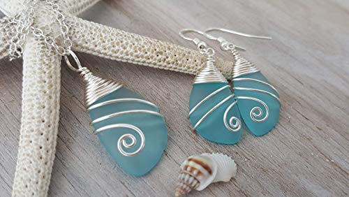 Handmade in Hawaii, wrapped turquoise bay sea necklace earrings sterling silver Day Gift, FREE wrap,