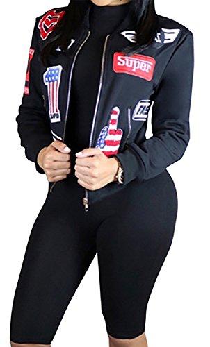 Women's Sexy Stylish Zip Up Patch Short Bomber Jacket Coat Black L