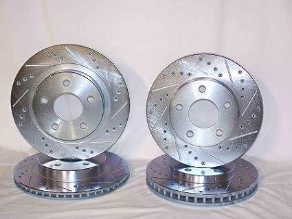 Front and Rear Black Slotted Brake Rotors /& Ceramic Brake Pads Camaro,Firebird