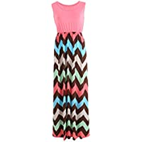 Woolfs House Women Summer Beach Boho Maxi Sleeveless Dress Colorful Striped Print Long Dress Ruffle Evening Party Drees (12-14, Hermosa Pink)