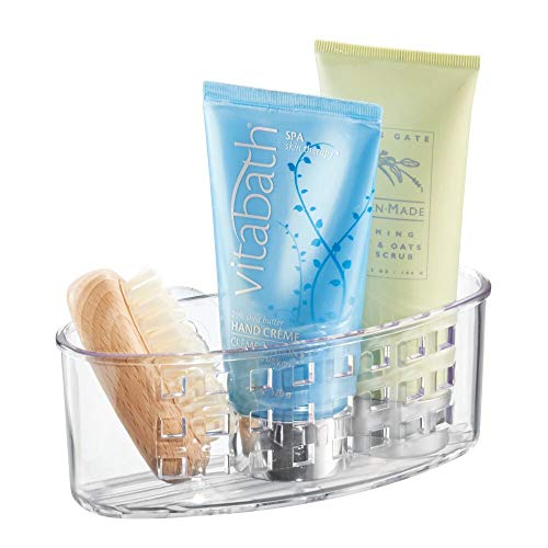 InterDesign Suction Bathroom Caddy - Shower Storage Shelf for Soaps and Sponges, Clear