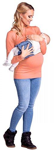 Happy Mama. Para mujer sudadera capucha panel de la lactancia top premamá. 272p Salmón