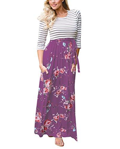 Femme Manches 3/4 Amstt Rayé Imprimé Floral Robe Maxi Swing Taille Cravate Avec Des Poches Violet