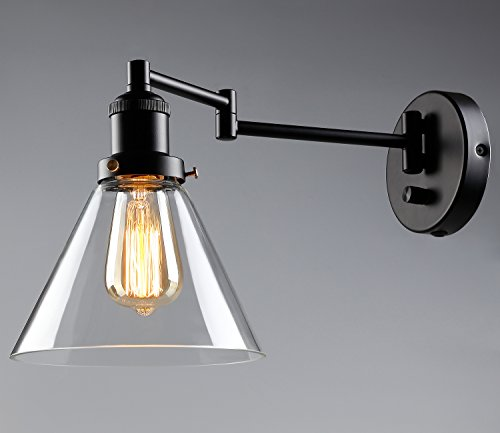 Glass Swing Arm Lamp (1 Light Industrial Glass Wall Sconce, Edison Vintage Style Clear Transparent Lampshade, Plug-n-play/Hardwire, Lobby, Hallway, Kitchen, Dining Room, Restaurant, CafÃ, 2 YEARS WARRANTY)