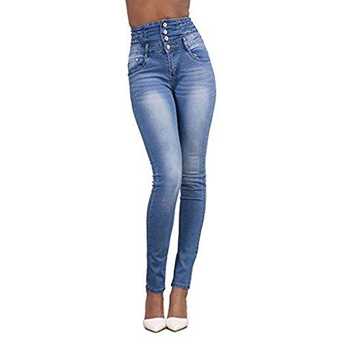 Unita Jeans Skinny Matita Slim Alta Nero Vita Pantaloni Tinta A Fit dwRqnxT0X0