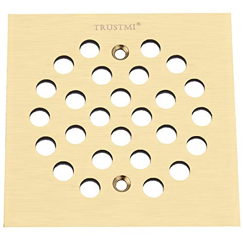 TRUSTMI 4-1/4 Inch Screw-in Shower Drain Cover Replacement Square Floor Drainer Grate,Brushed Gold