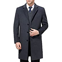 FASHINTY Men's Classical Style Single Breasted Slim-Fit Long Dress Coat Wool Coat #00123