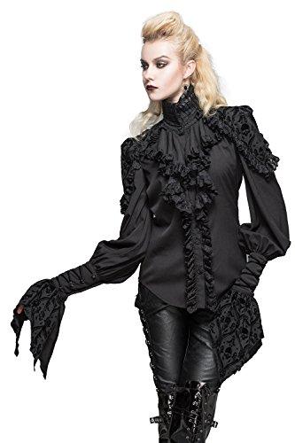 法医学話す寂しいデビルファッション女性ゴシックレースアップ長袖シャツスリムフィットビクトリア朝の衣装
