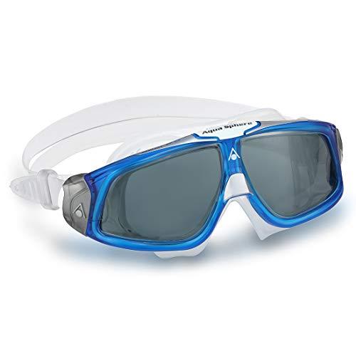 (Aqua Sphere Seal 2.0 Swim Mask Goggle Smoke Lens Trans/Blue Frame Regular Adult)