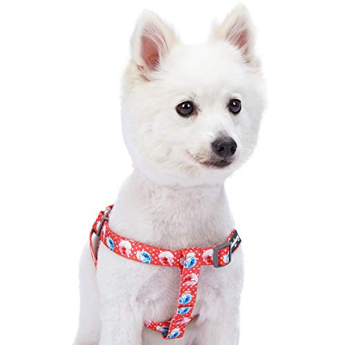 Blueberry Pet Step-in Spring Scent Inspired Rose and Polka Dot Print Brink Pink Dog Harness, Chest Girth 16.5 - 21.5, Small, Adjustable Harnesses for Dogs