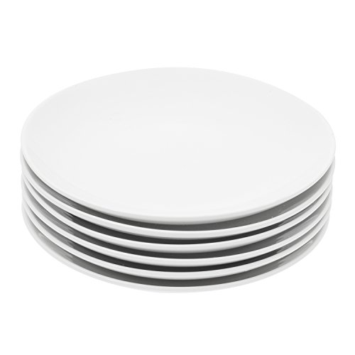 Durable Porcelain 6-Piece Dessert Plate Set, Elegant White Serving Plates (6-inch dessert plates)