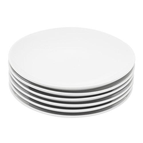 Durable Porcelain 6-Piece Dessert Plate Set, Elegant White Serving Plates (6-inch dessert plates)