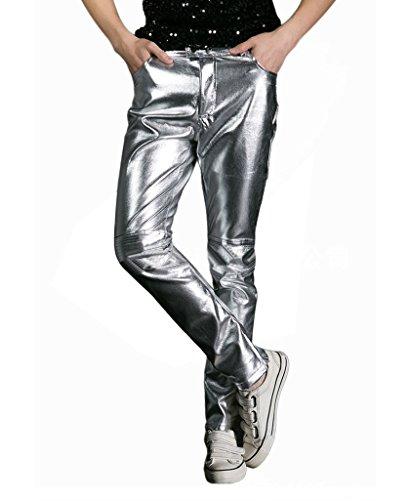 CIC Collection Men 's Metallic Shiny Jeans Silver Disco Pants,Silver,US 32 Tag size XL -