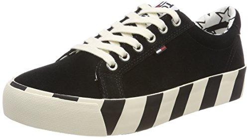 Mujer Suede Jeans Sneaker black Para Tommy Zapatillas 990 Negro RXwqzzO