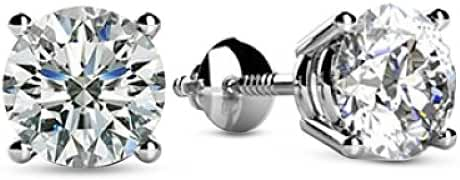1/2 - 1 1/2 Carat Total Weight Round Diamond Stud Earrings 4 Prong Screw Back (D-E Color VS1-VS2 Clarity)