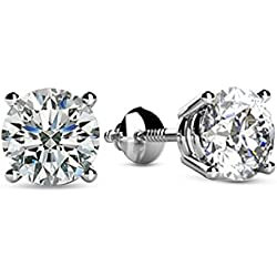 1/2 - 2 Carat Total Weight Round Diamond Stud Earrings 4 Prong Screw Back (H-I Color SI2-I1 Clarity)