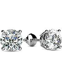 1/2 - 2 Carat Total Weight Round Diamond Stud Earrings 4 Prong Screw Back (H-I Color I1 Clarity)