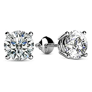 1/4-2 Carat Total Weight Round Diamond Stud Earrings 4 Prong Screw Back (F-G Color SI2-I1 Clarity)
