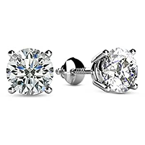 1/2 0.5 Carat Total Weight White Round Diamond Solitaire Stud Earrings Pair set in Plat-950 Platinum 4 Prong Screw Back (H-I Color I1 Clarity)