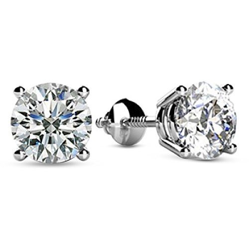 2 Carat Total Weight White Round Diamond Solitaire Stud Earrings Pair set in 14K White Gold 4 Prong Screw Back (H-I Color SI2-I1 Clarity)