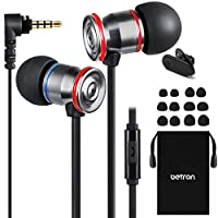 Betron MK23Mic Earbuds, Wired Headphones with Microphone, Noise Isolating Earphones, Flat Wired Earbud for iPhone, iPad, Laptops, Cellphones, Samsung and Android Smartphones, Black