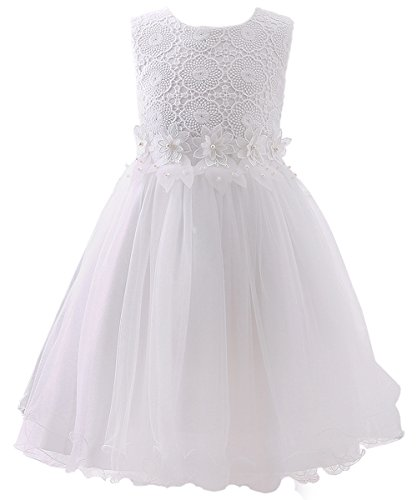 AbaoSisters Flower Girl Dress Lace Crochet Bow Sash Party Wear 6-13 Year Old (12, White)
