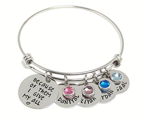 Personalized Charm Bangle Bracelet - Name And Birthstone