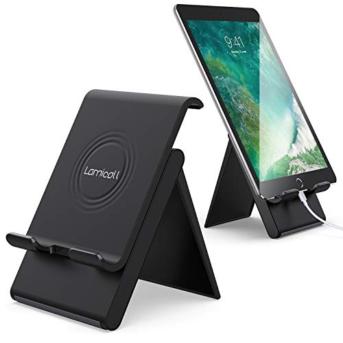 Lamicall Adjustable Tablet Stand Holder - Foldable Desktop Stand Charging Dock for Desk Compatible with Tablets Such As iPad Air Mini 2 3 4 Pro 9.7, 10.5, 12.9, Cell Phone (4-13 Inch) - Black
