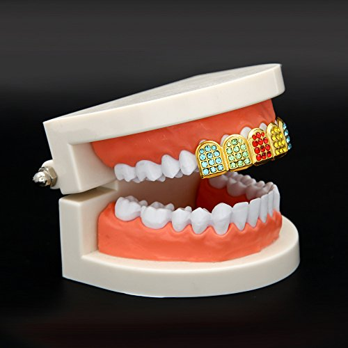 MCSAYS Micro Pave Teeth Grillz Iced-out Teeth Top Upper Hip Hop Colorful Rhinestones 6 Teeth Grillz by MCSAYS (Image #3)