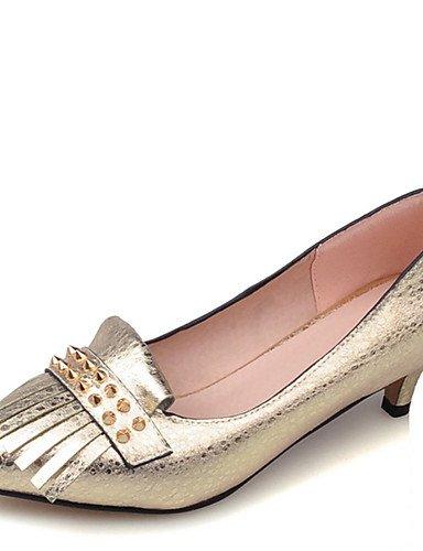 ZQ Zapatos de mujer-Tac¨®n Stiletto-Tacones / Puntiagudos-Tacones-Vestido / Casual / Fiesta y Noche-Semicuero-Azul / Amarillo / Rojo / Plata , golden-us10.5 / eu42 / uk8.5 / cn43 , golden-us10.5 / eu4 yellow-us9 / eu40 / uk7 / cn41