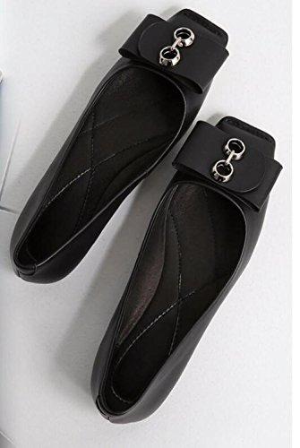 ZFNYY Comodidad Boca Zapatos Cabeza Superficial Casual Cuadrado Diarios Metal Elegante Plano Moda Profesional 8nqrBgvx8