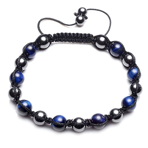 Eye Magnetic Hematite Bracelet - CrystalTears Blue Tiger Eye Beads Hematite Magnetic Therapy Bracelet, Adjustable Braided Link Bangle Reiki Healing Energy Stone