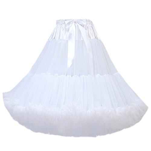 FOLOBE Women's Knee Length 50s Soft Puffy Tutu Skirts Ballet Costume Tulle Underskirts (24 Colors) White