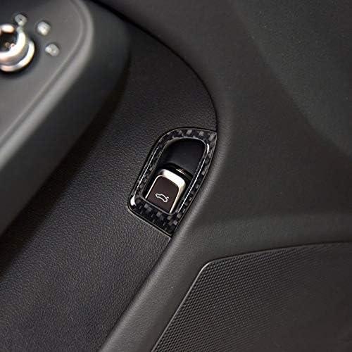 SPLLEADER Fibre Porte int/érieure Carbone Coffre commutateur Bouton Cadre d/écoration Couverture de Finition for Audi A4 B8 2009-2016 LHD Car Styling