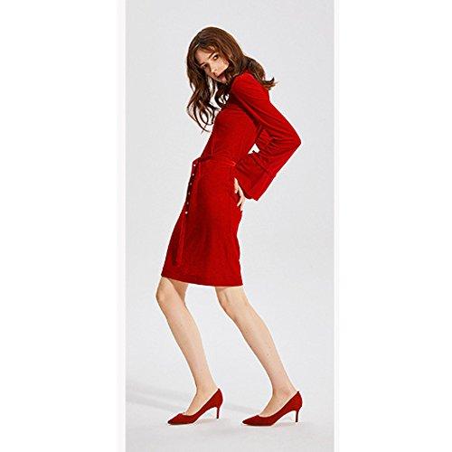 Mujer Fiesta Red Moda Oveja Tacones Negro 5cm Corte Zapatos De De UK 4 37 De Discoteca Sexy Trabajo Zapatos Boda Piel 6 Altos De 5 De EU WnTWHrwtax
