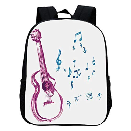 - Guitar Fashion Kindergarten Shoulder Bag,Watercolor Musical Instrument with Notes Sheet Elements Brush Stroke Effect Decorative For Hiking,One_Size
