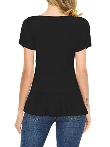 Florboom Womens Tshirts Summer Short Sleeve Soft T Shirts Tops Black XXL