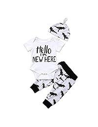 3Pcs Infant Newborn Baby Boys Short Sleeve Romper Bodysuit+Dinosaur Pants+Hat Outfit Clothes Set