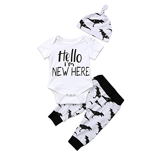 BiggerStore 3Pcs Infant Newborn Baby Boys Short Sleeve Romper Bodysuit+Dinosaur Pants+Hat Outfit Clothes Set (Im New Here Onesie)