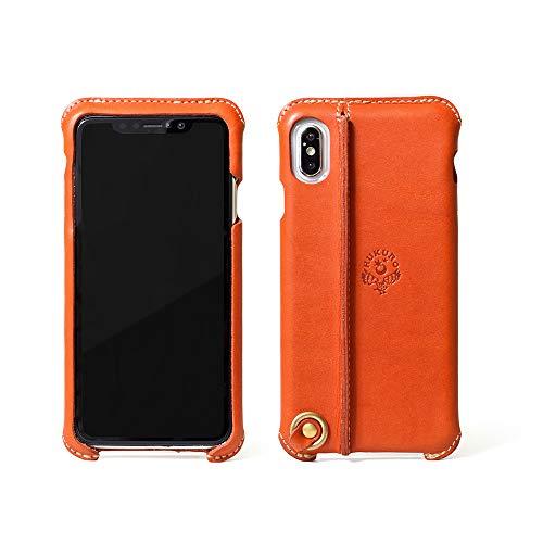 【HUKURO】iPhone Xs Max ケース スマホケース スマホカバー 本革 革 レザー 栃木レザー 日本製 (左手持ち, オレンジ)