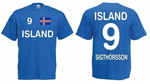 Island EM 2016 Trikot Sigthorsson Fanshirt T-Shirt|blau-S