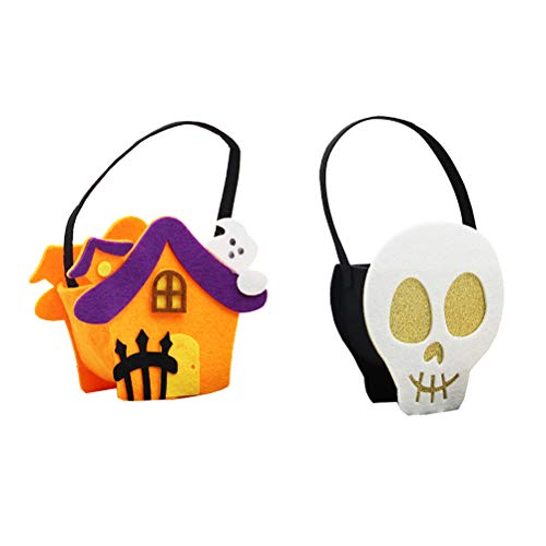 Amosfun 2pcs Halloween Candy Bags Treat Bags Trick or Treat Bags with Handles Halloween Party Favors Gifts Supplies -
