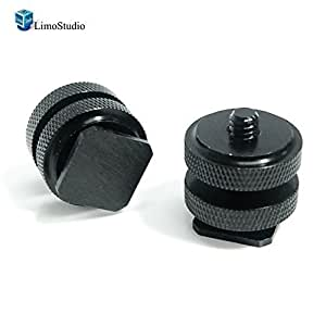 "LimoStudio 2x Mini Black Double Screw Angle 1/4"" Hot Shoe Mount Adapter Holder, AGG1451"