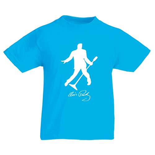 lepni.me Kids T-Shirt I Love You Elvis - King of Rock and Roll 50s, 60s, 70s Fan Outfits (14-15 Years Light Blue White) -