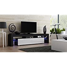 TV Stand MILANO 200 Black Body / Modern LED TV Cabinet / Living Room Furniture / Tv Cabinet fit for up to 90-inch TV screens / High Capacity Tv Console for Modern Living Room (Black & White)