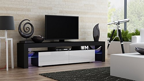 TV Stand MILANO 200 Black Body / Modern LED TV Cabinet / Living Room Furniture / Tv Cabinet fit for up to 90-inch TV screens / High Capacity Tv Console for Modern Living Room (Black & White) by Concept Muebles